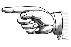 Mão desenhado à mão do vintage que aponta à esquerda Imagem de Stock