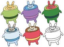A mão do abacate do monstro do alimento da garatuja dos desenhos animados da cópia tira o grupo feliz da tração da mão ilustração do vetor