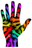 Mão do arco-íris da diversidade Foto de Stock