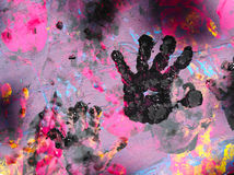 Mão do bebê com pintura Foto de Stock