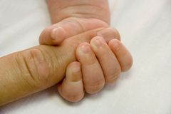Mão do bebê e braço do pai Fotografia de Stock Royalty Free