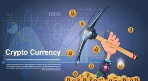 Mão do conceito da mineração de Bitcoin que guarda o conceito cripto da moeda do dinheiro de Digitas do Internet da picareta ilustração do vetor