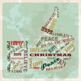 Mão do conceito do Feliz Natal do vintage Fotografia de Stock