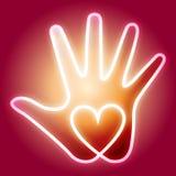 Mão do coração ilustração do vetor
