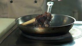 Mão do cozinheiro chefe, repreensão da carne video estoque