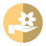 Mão do dia das mulheres que guarda a sombra da flor ilustração do vetor