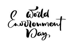 Mão do dia de ambiente de mundo que rotula o texto para os cartões, os cartazes etc. Ilustra??o da caligrafia do vetor no fundo b ilustração do vetor