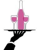 A mão do empregado de mesa prende a silhueta da bandeja do vinho Imagens de Stock Royalty Free