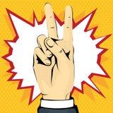 Mão do esboço que mostra a vitória ilustração royalty free