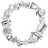 Mão do esboço do vetor tirada em volta do quadro com ilustração do esboço de bebidas do alimento, dos sanduíches, do álcool e do  ilustração stock