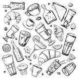 A mão do esboço do vetor tirada esboça a ilustração com as garrafas diferentes dos cocktail, das bebidas do café, dos sanduíches, ilustração stock