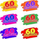 Mão do feliz aniversario 60 desenhada Imagem de Stock Royalty Free