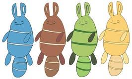 A mão do grupo do monstro do esquilo da cor da garatuja dos desenhos animados da cópia tira feliz ilustração stock