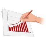 A mão do homem é o progresso 2 do crescimento do desenho Imagens de Stock