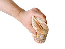 Mão do homem com o euro isolado no branco Fotografia de Stock Royalty Free
