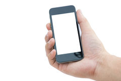 Mão do homem com telefone celular no fundo branco Imagem de Stock Royalty Free