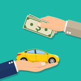 Mão do homem de negócios com dinheiro que compra um carro ilustração royalty free