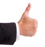 Mão do homem de negócios com polegar acima Fotografia de Stock Royalty Free