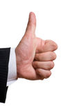 Mão do homem de negócios com polegares acima Fotografia de Stock Royalty Free