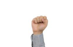 Mão do homem de negócios com punho embreado Imagens de Stock