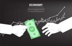 A mão do homem de negócios dá o dinheiro da cédula a outro ilustração stock