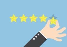 Mão do homem de negócios que dá uma avaliação de cinco estrelas, conceito do feedback