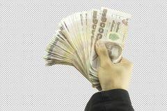 Mão do homem de negócios que mantém o dinheiro e o homem que guardam uma carteira no fundo branco com trajeto de grampeamento fotos de stock royalty free