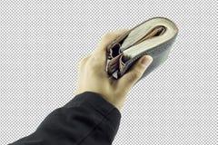 Mão do homem de negócios que mantém o dinheiro e o homem que mantêm uma carteira isolada no fundo branco Fotos de Stock