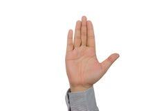 A mão do homem de negócios que mostra cinco dedos Fotografia de Stock