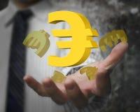 Mão do homem de negócios que mostra a 3D euro- sinais dourados Foto de Stock Royalty Free