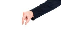 Mão do homem de negócios que mostra o tamanho pequeno Fotos de Stock Royalty Free