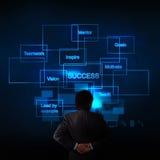 Mão do homem de negócios que pensa sobre o diagrama do sucesso comercial imagens de stock royalty free
