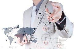 Mão do homem de negócios que trabalha com o computador moderno novo e o negócio s foto de stock