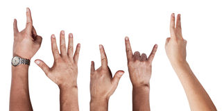 Mão do homem do sinal do rock and roll isolada Fotografia de Stock