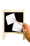 A mão do homem indica o lápis Imagens de Stock