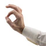 A mão do homem mostra o gesto aprovado imagem de stock royalty free