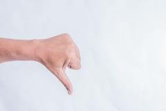 Mão do homem no fundo branco Fotos de Stock Royalty Free