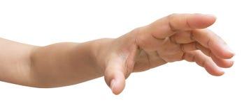 Mão do homem ou da tentativa fêmea para alcançar algo fotos de stock royalty free