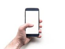 A mão do homem que guarda e que usa o modelo esperto móvel do telefone Imagem de Stock