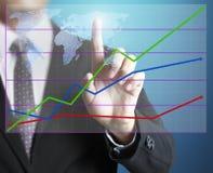 Mão do homem que mostra o gráfico Imagens de Stock