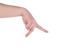 Mão do homem que mostra pé running Imagens de Stock