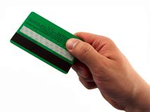 Mão do homem que paga com cartão Fotografia de Stock