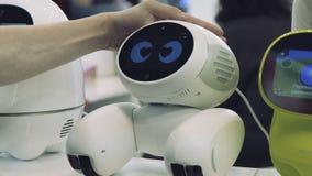 A mão do homem toca no robô O robô está feliz com o toque de um ser humano Conceito da tecnologia imagem de stock royalty free