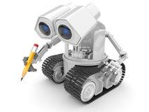 Mão do lápis da preensão do robô. pessoa 3d. isolado Foto de Stock