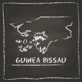 Mão do mapa do vetor do esboço de Guiné-Bissau tirada com Foto de Stock Royalty Free