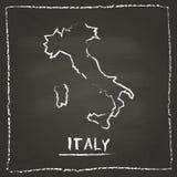 Mão do mapa do vetor do esboço de Itália tirada com giz sobre Fotografia de Stock Royalty Free
