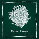 Mão do mapa do vetor do esboço de Serra Leoa tirada com ilustração royalty free