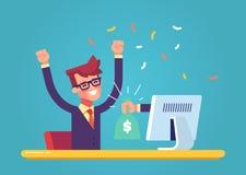 A mão do monitor estica um saco do dinheiro a um homem feliz Conceito do salário no Internet Vetor Imagens de Stock Royalty Free