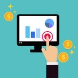 A mão do negócio clica sobre o tela de computador com negócio Fotografia de Stock Royalty Free