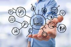 A mão do negócio guarda a educação ou a ilustração social foto de stock royalty free